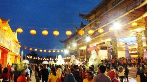 Maha Vihara Maitreya dan Kolam Bangau Cemara Asri