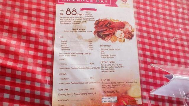 daftar harga makanan pantai romantis