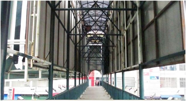 Jembatan penyeberangan orang (JPO) sepi dan kosong, tidak ada orang yang menyeberang atau pedagang kaki lima yang membuka lapak dadakan. Sebagian plat besinya sudah berkarat dan berlubang sehingga kendaraan di bawah terlihat dan menimbulkan paranoia bagi yang melewatinya
