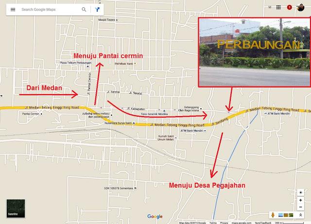 Peta menuju Pondok Bali Desa Pegajahan. Tidak melakukan Pointing, karena desa tidak tercantum di Google Maps.