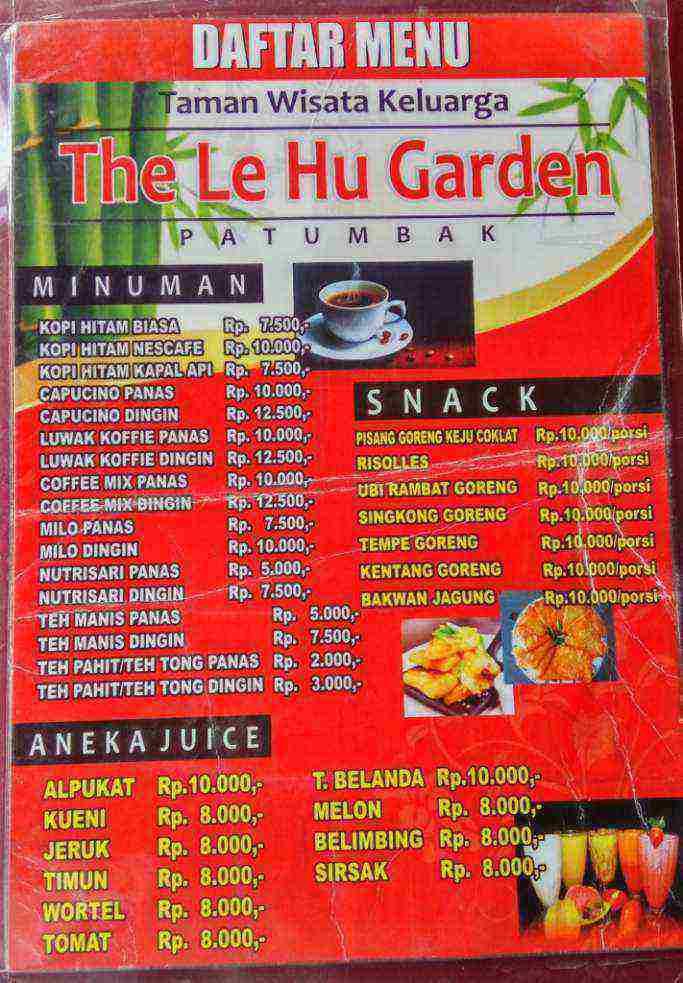Daftar Menu Taman Wisata Keluarga, The Le Hu Garden
